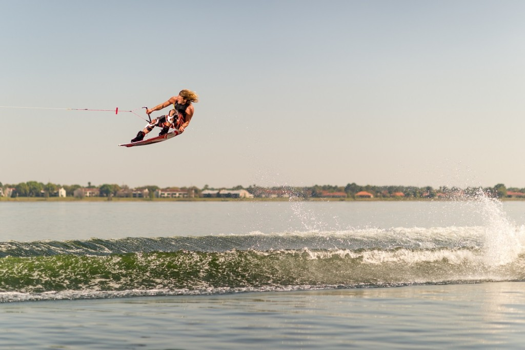 Wakeboarding with a knee brace